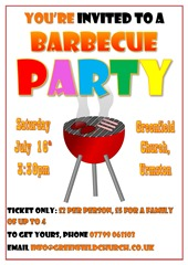 Barbecue Party, 16 July, 3:30pm. Phone 07799 061103 or email info@greenfieldchurch.co.uk for tickets or more info.
